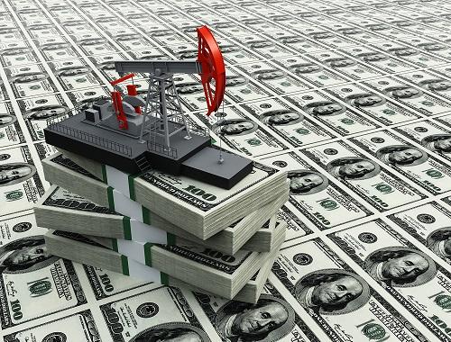 Oljeborr som pumpar dollar